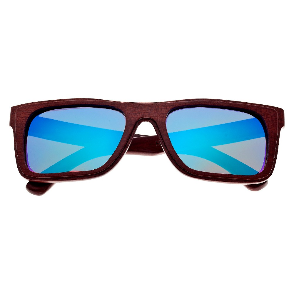 Earth Wood Portsmouth Unisex Sunglasses with Blue Lens - Red, Red Oak