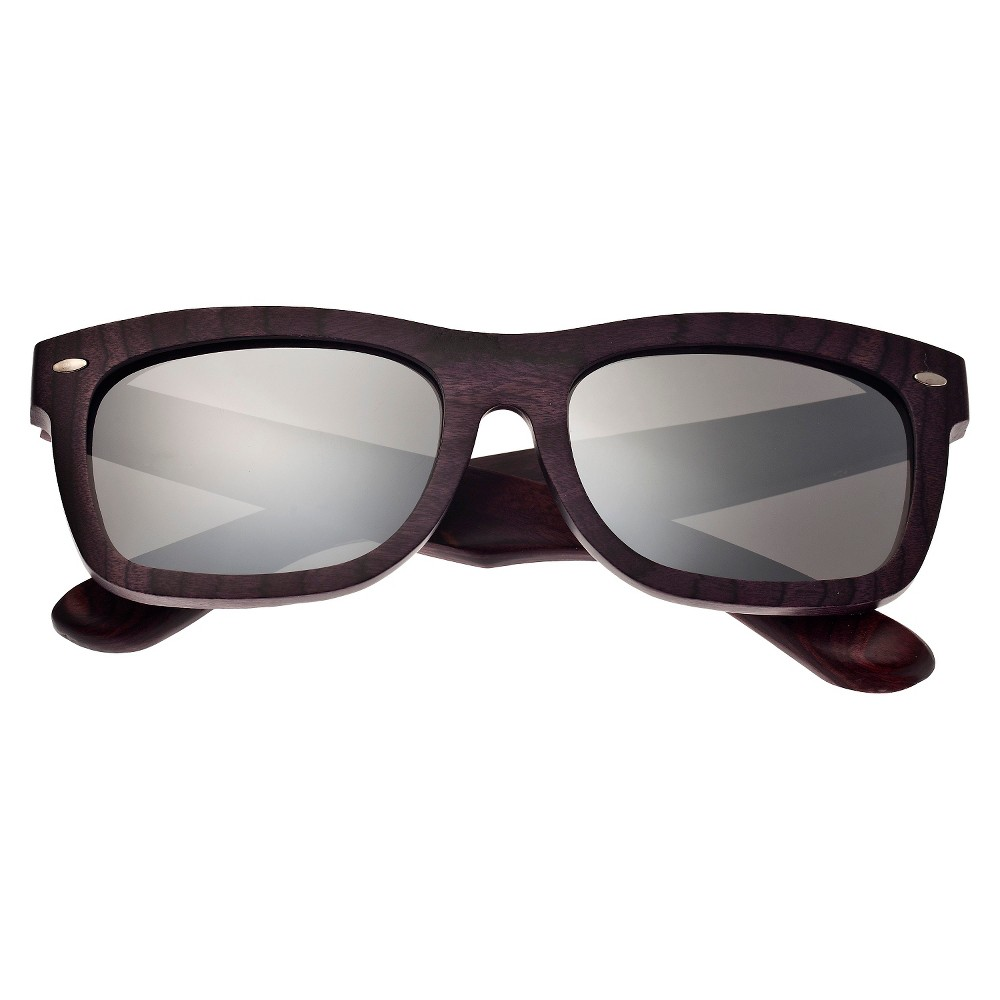 Earth Wood Portsmouth Unisex Sunglasses with Silver Lens - Purple, Plum Wine