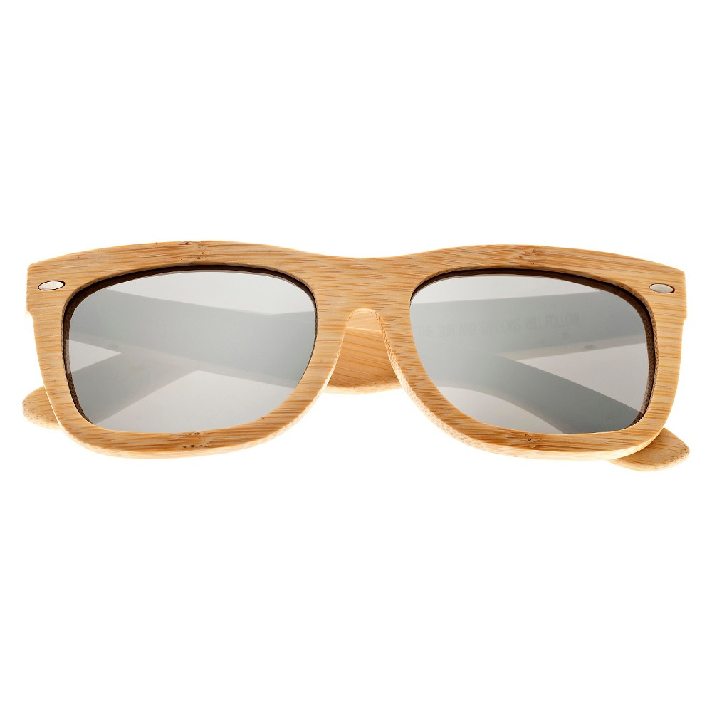 Earth Wood Portsmouth Unisex Sunglasses with Silver Lens - Beige, Green