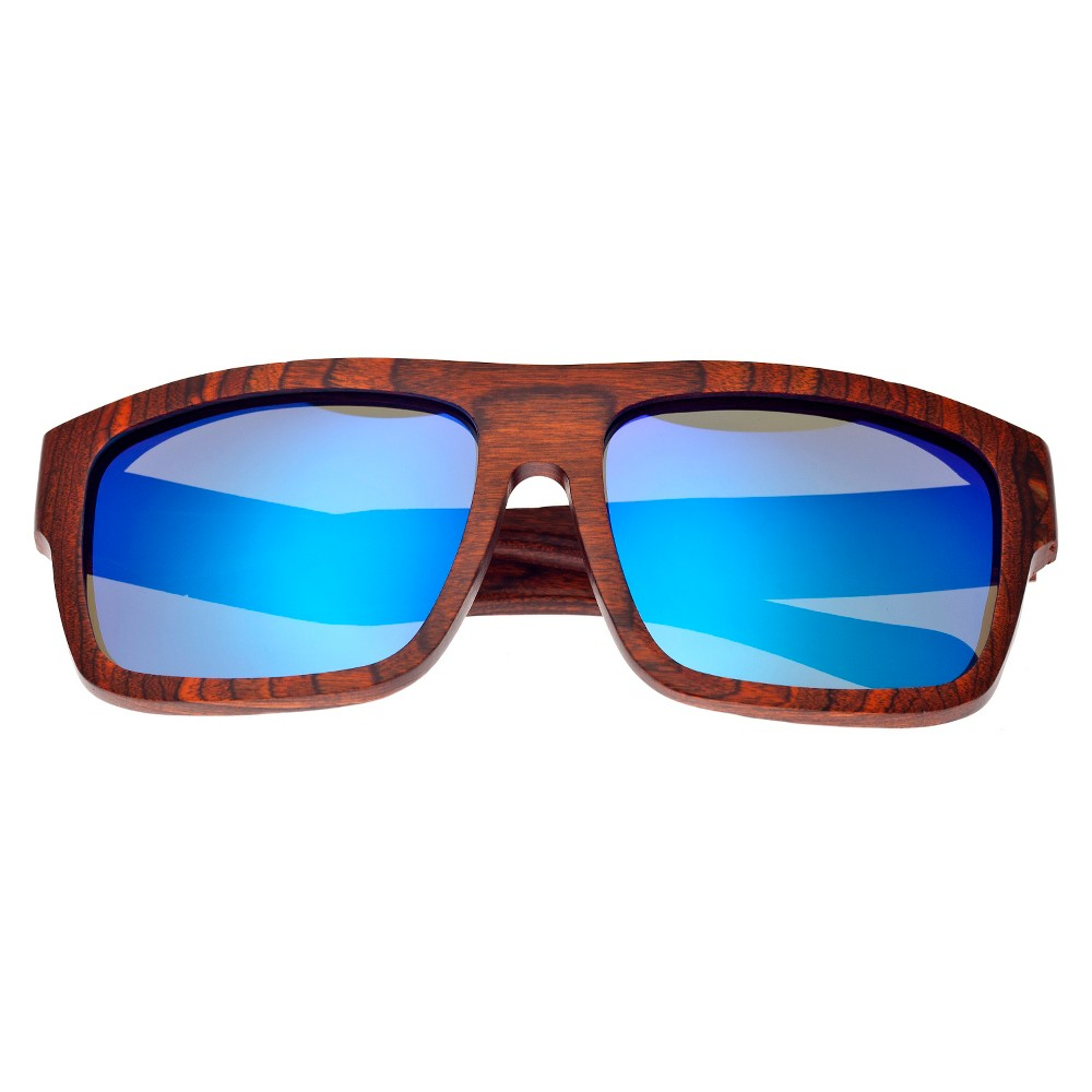 Earth Wood Hermosa Unisex Sunglasses with Blue Lens - Red, Rosewood/Black
