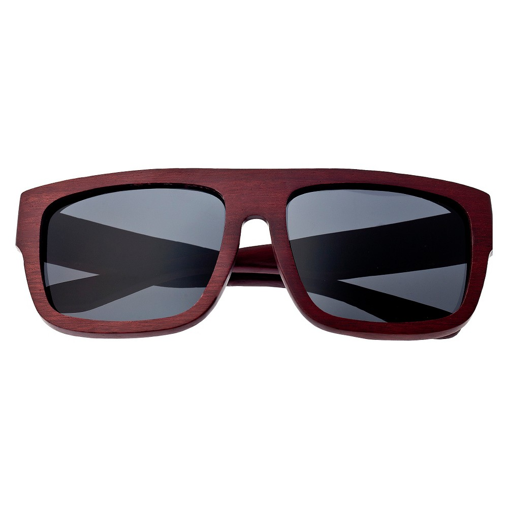 Earth Wood Hermosa Unisex Sunglasses with Black Lens - Red, Red Oak