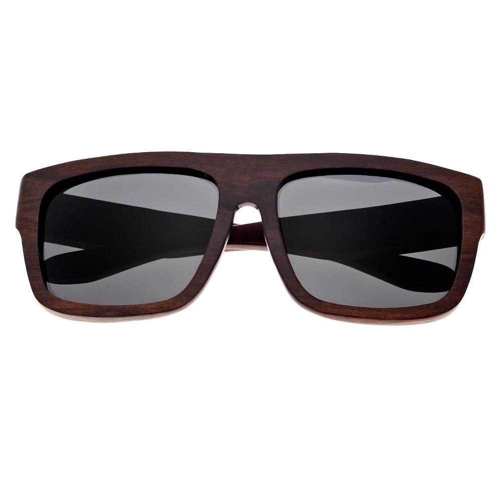 Earth Wood Hermosa Unisex Sunglasses with Black Lens - Brown, Dark Oak