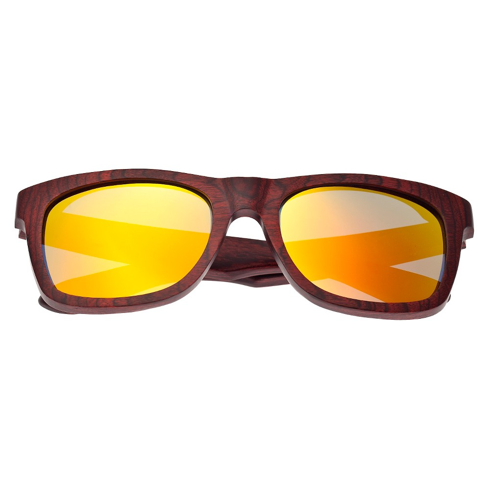 Earth Wood Panama Unisex Sunglasses with Yellow Lens - Red, Rosewood/Black