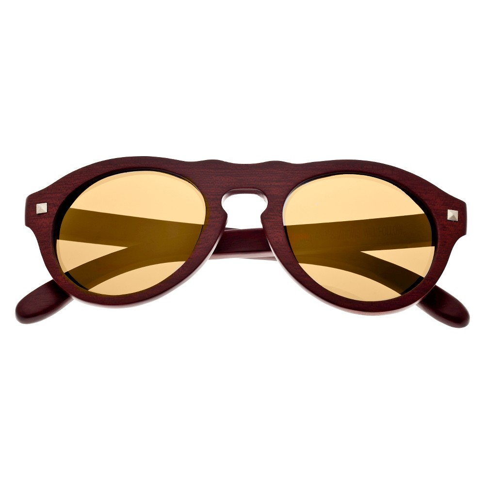 Earth Wood Sunset Unisex Sunglasses with Gold Lens - Red, Red Oak