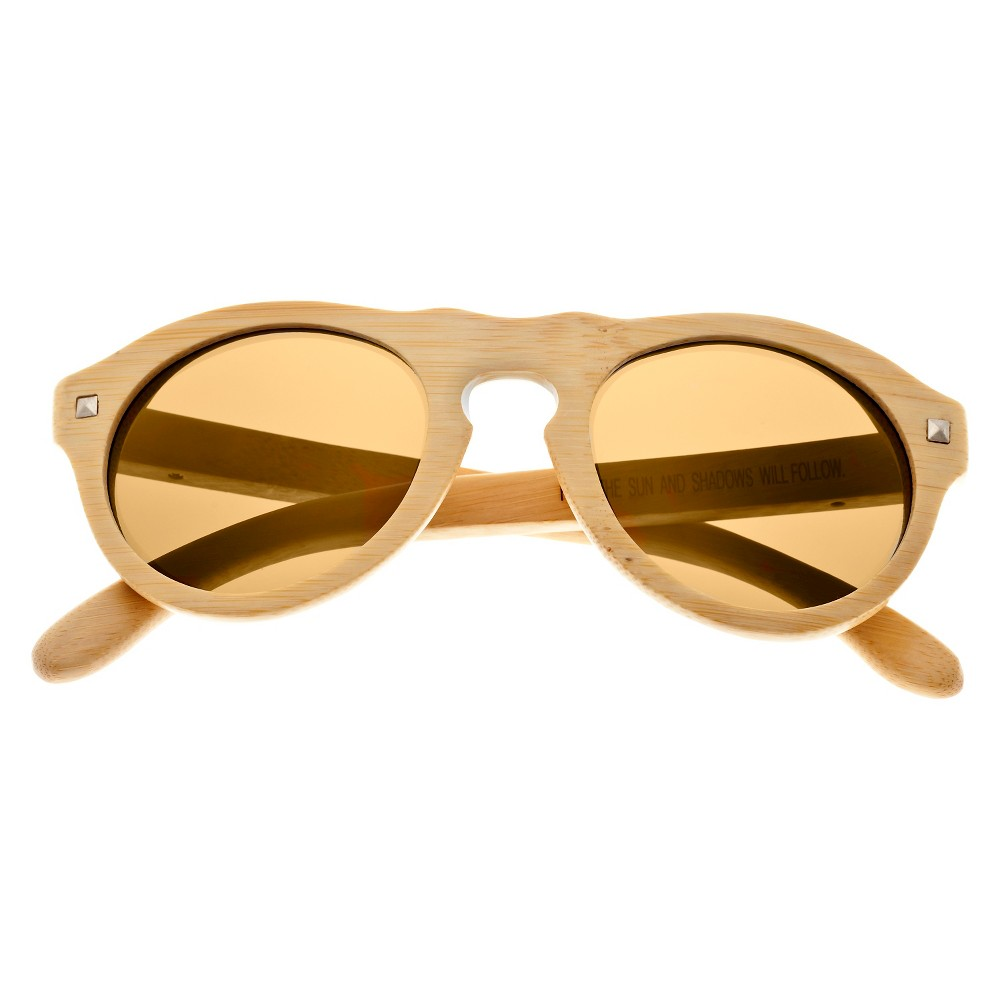 Earth Wood Sunset Unisex Sunglasses with Gold Lens - Beige, Green