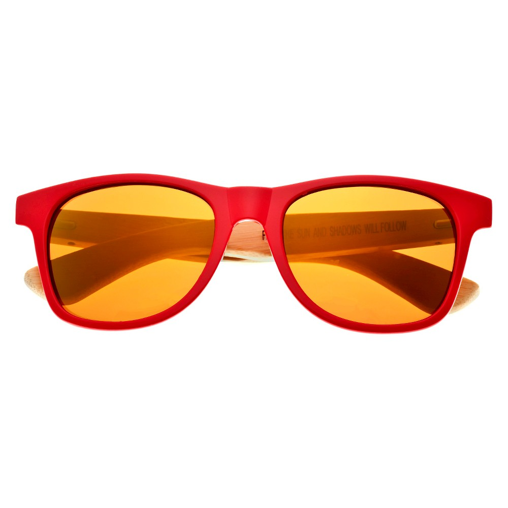 Earth Wood Rockport Unisex Sunglasses with Gold Lens - Red
