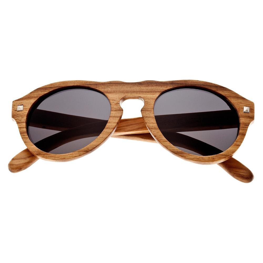 Earth Wood Sunset Unisex Sunglasses with Black Lens - Bark (Brown)