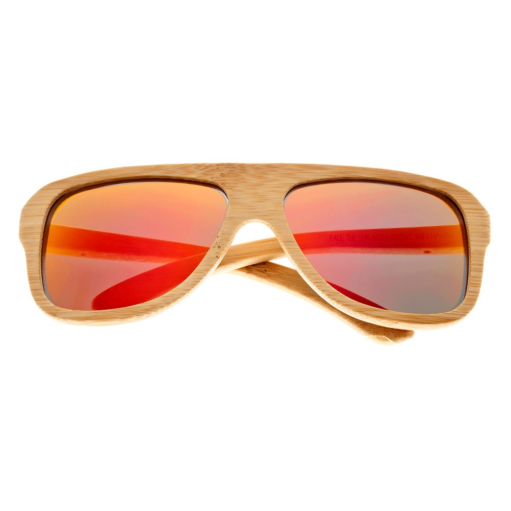 Earth Wood Siesta Unisex Sunglasses with Red Lens - Beige, Green