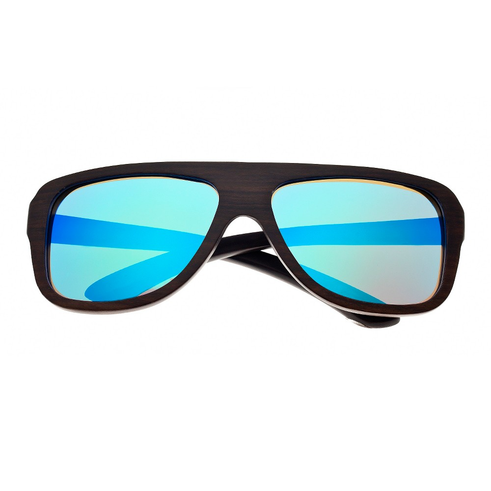 Earth Wood Siesta Unisex Sunglasses with Blue Lens - Brown, Dark Oak