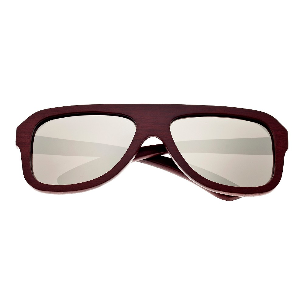 Earth Wood Siesta Unisex Sunglasses with Silver Lens - Red, Red Oak