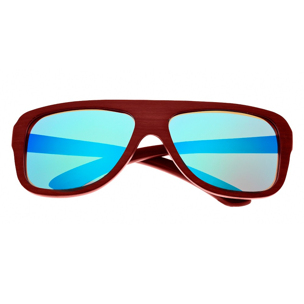 Earth Wood Siesta Unisex Sunglasses with Blue Lens - Red, Rosewood