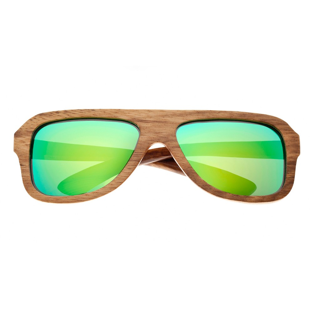 Earth Wood Siesta Unisex Sunglasses with Green Lens - Bark (Brown)