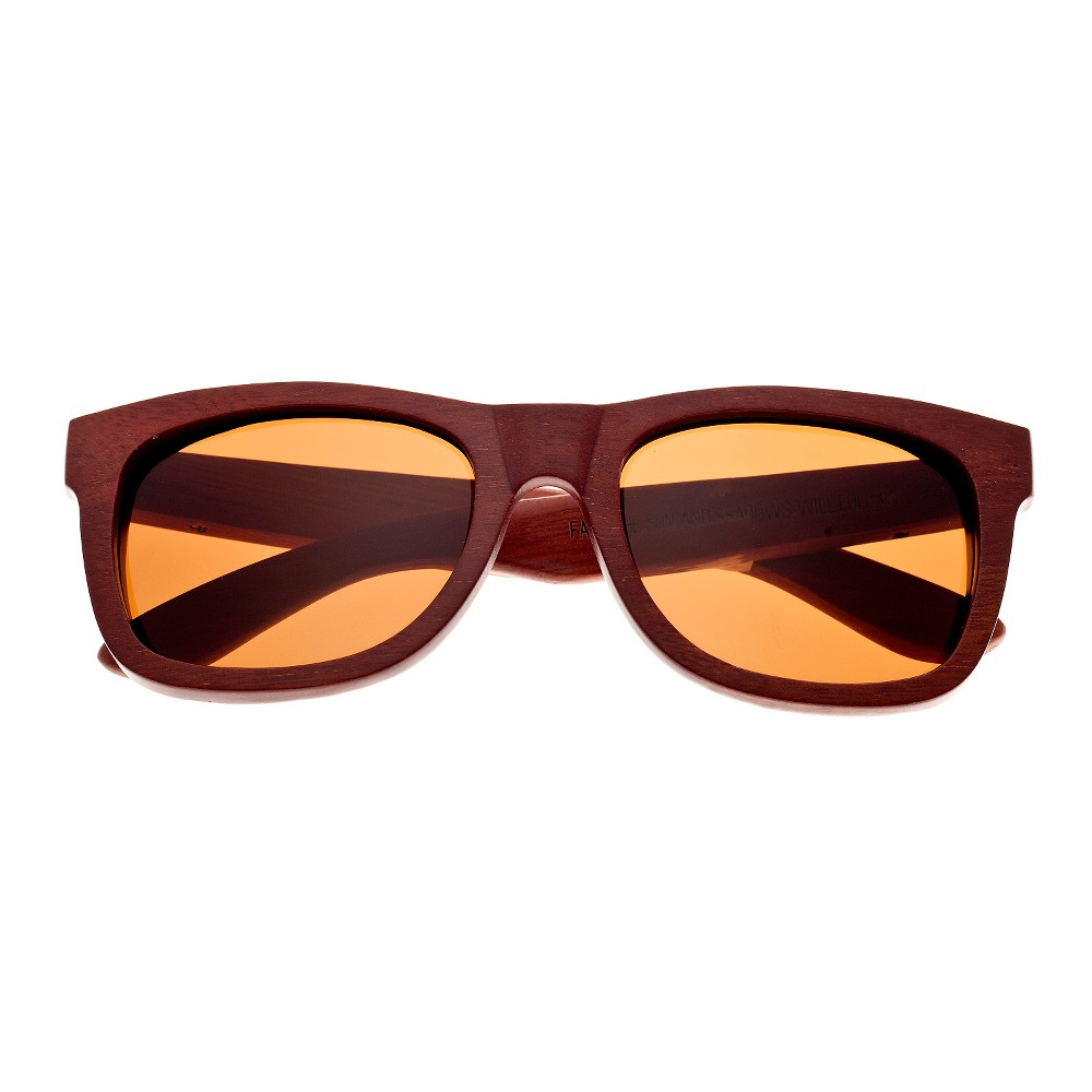 Earth Wood Panama Unisex Sunglasses with Brown Lens - Red, Red Oak