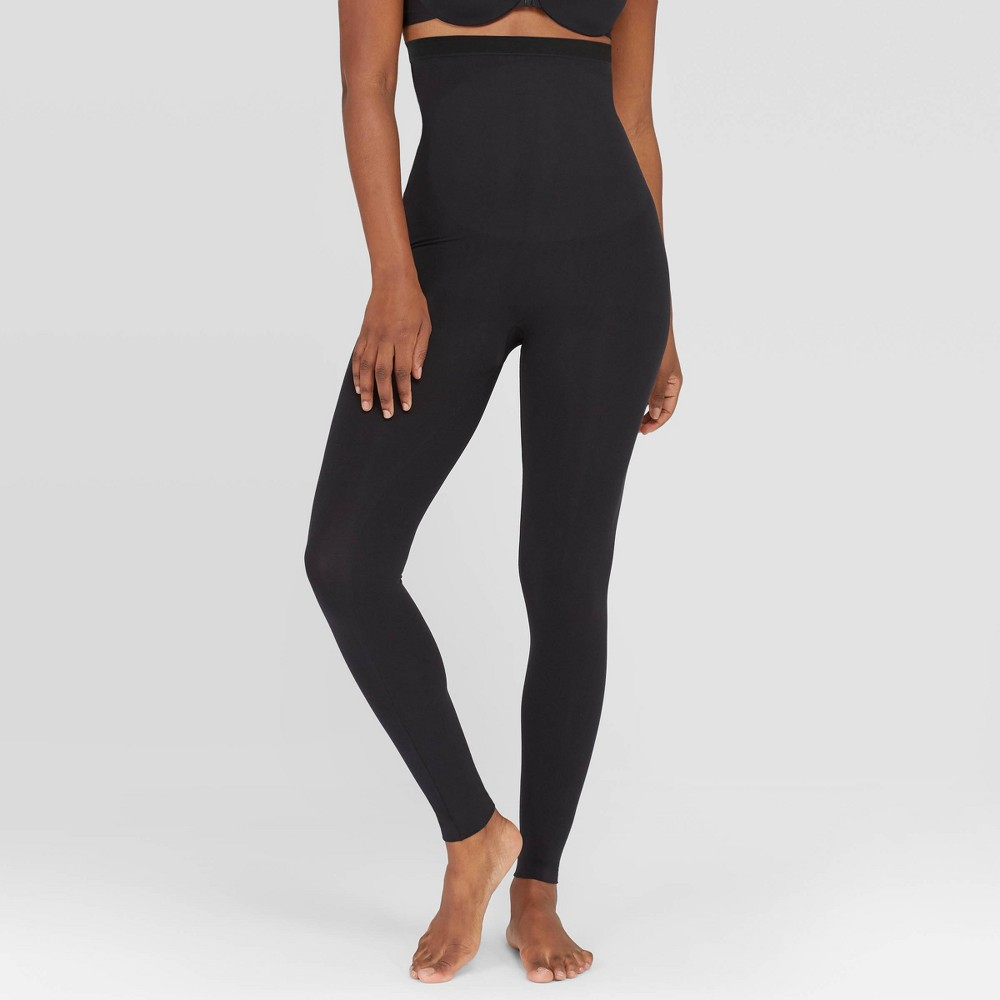 Assets by Spanx Womens Hi Waist Seamless Leggings - Black, Size: Large