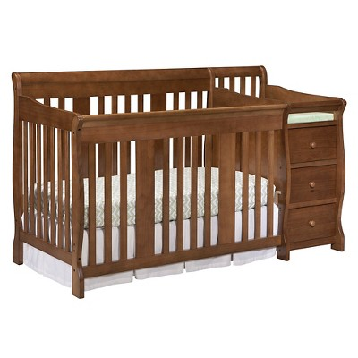 Stork Craft Portofino 4-in-1 Convertible Crib and Changer - Dove Brown