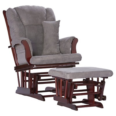 Stork Craft Tuscany Cherry Glider and Ottoman - Slate Gray Swirl