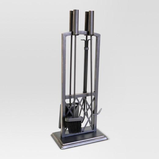 Lattice Fireplace Tool Set - Black with Brass Finish - Threshold ...