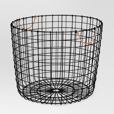 Wire Log Basket with Copper Handle - Matte Black - Threshold™