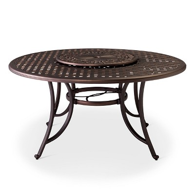 Folwell 60  Cast Aluminum Dining Table with Lazy Susan - Threshold™