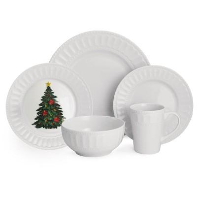 American Atelier Radiant Christmas 20pc Dinnerware Set White