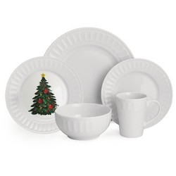 American Atelier Radiant Christmas 20pc Dinnerware Set White