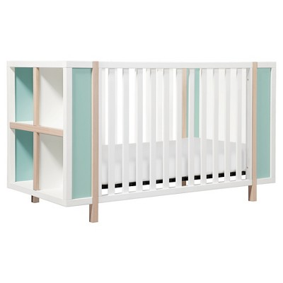 Babyletto Bingo 3-in-1 Convertible Crib and Storage Combo - White/Washed Natural/Cool Mint