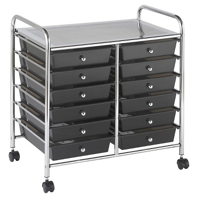ECR4Kids 12 Drawer Mobile Organizer - Gray