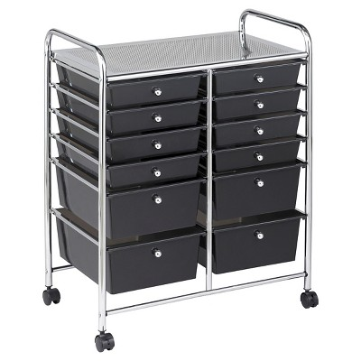 ECR4Kids 12 Drawer Mobile Organizer - Smoke