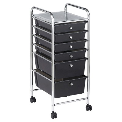 ECR4Kids 6 Drawer Mobile Organizer - Smoke