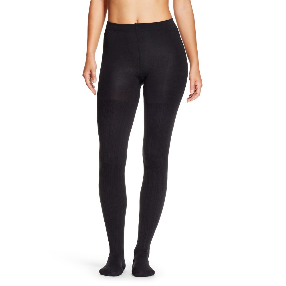 Women's Fleece Lined Tights - Xhilaration Black Ribbed S/M