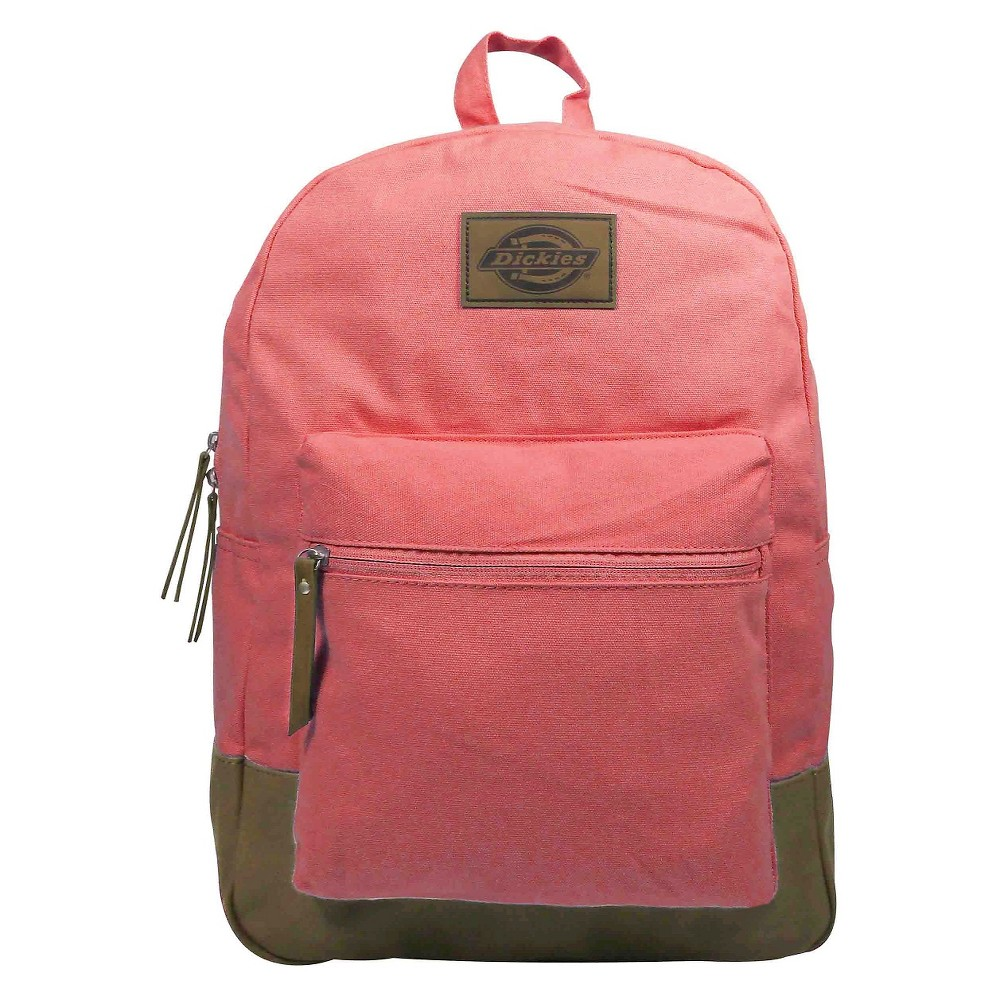 Dickies Solid Hudson Canvas Backpack Handbag with Front Zip Pocket and Faux Leather Bottom and Trims Washed - Pink, Melon Ball