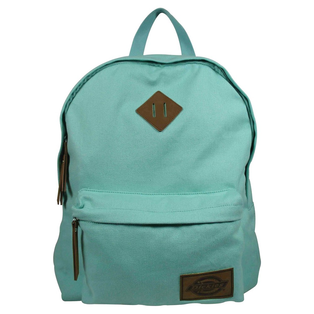 Dickies Solid Classic Canvas Backpack Handbag with Front Zip Pocket - Mint, Mint Green