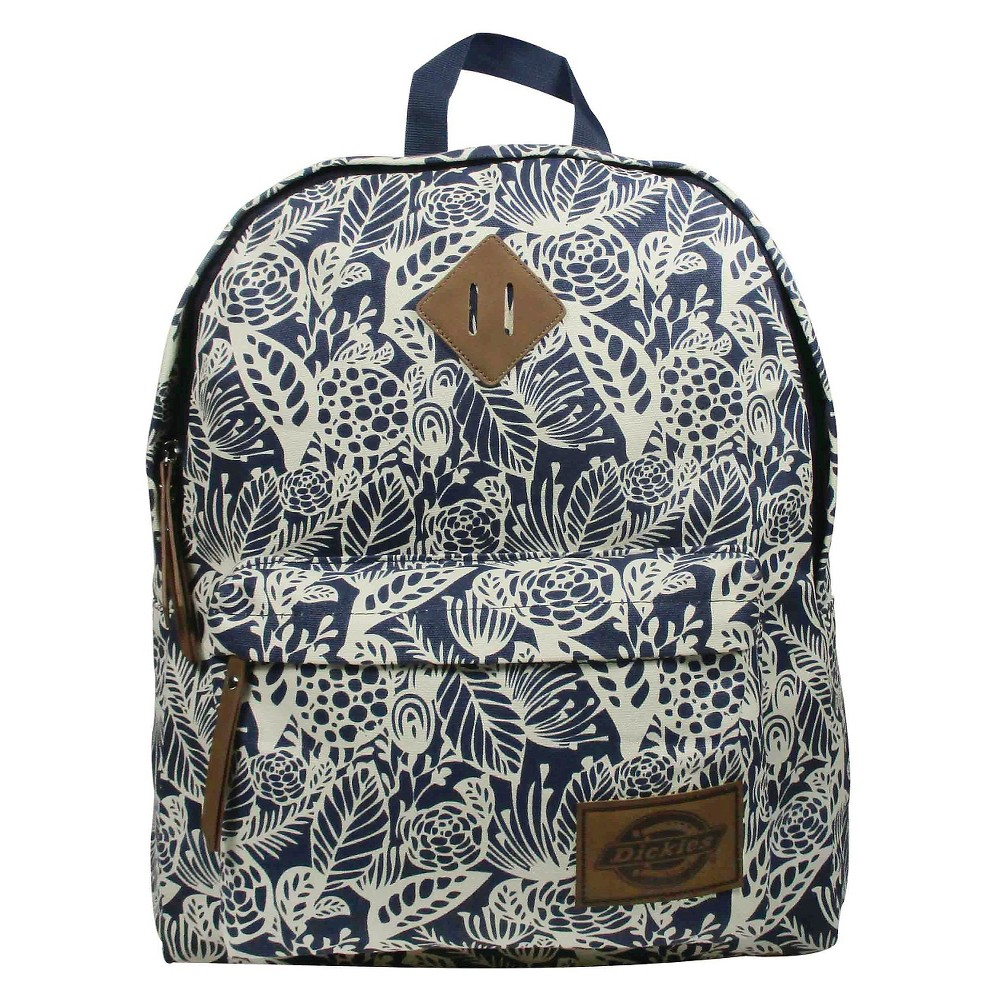 Dickies Printed Classic Canvas Backpack Handbag with Front Zip Pocket - Navy, Blue Dusk