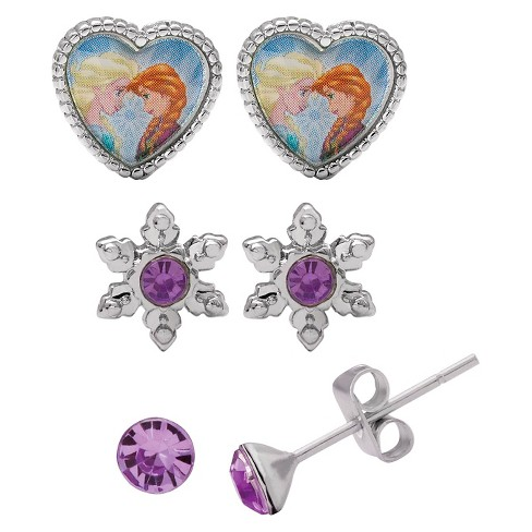 Disney® Girls' Set of 3 Stud Earrings - image 1 of 1