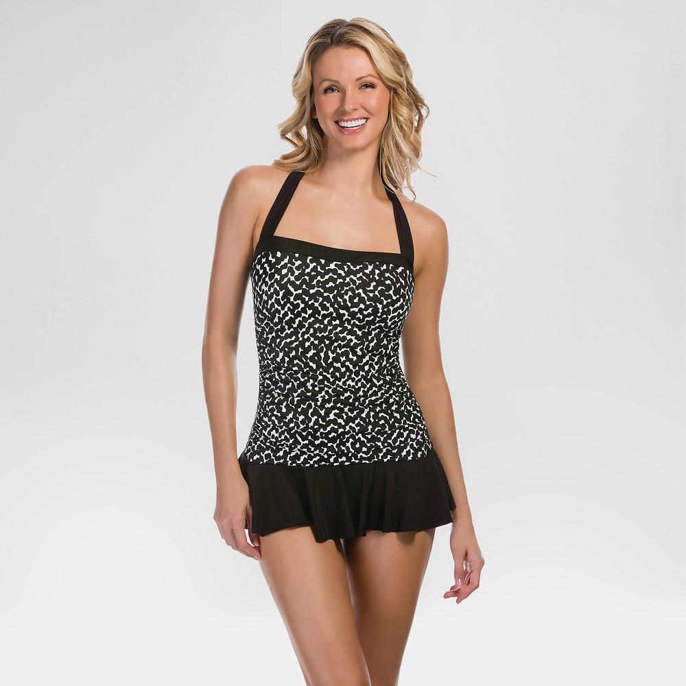 Womens Swim Dress - Black Dot - L - Aqua Green