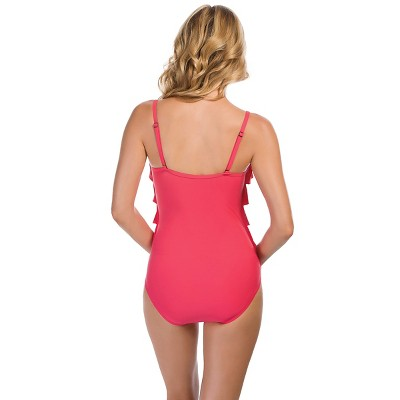 Women's Tiered One Piece - Coral Rose - L - Aqua Green