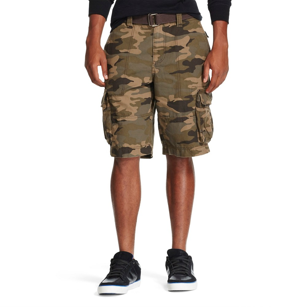 Mens Belted Cargo Shorts Camo Brown Evening - 42 Mossimo Supply Co., Gray