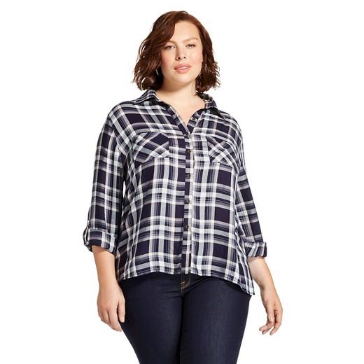 Women 39 s plus size button down shirt navy plaid knox for Women s plaid button down shirts