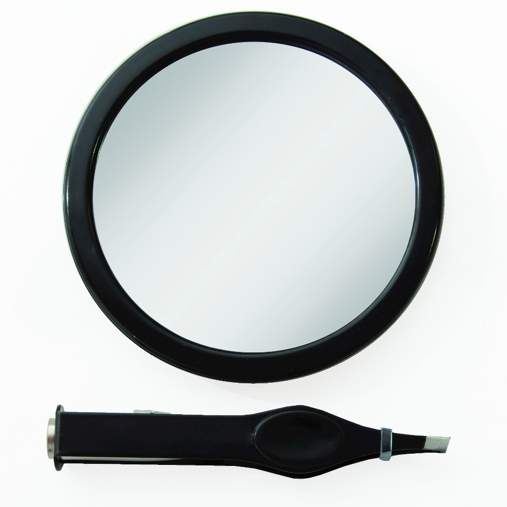 EZ-Grip 12X Spot Mirror with Lighted Tweezer - Black