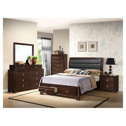 Charlestown Bed Brown (Queen) - Home Source - image 1 of 2