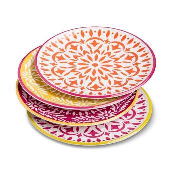 Marika Floral Melamine Salad Plates 9'' - Set of 4