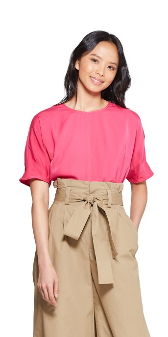 Women's 3/4 Sleeve Crewneck Pin Tuck Boxy T-Shirt - Who What Wear™ Pink