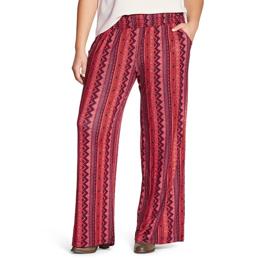 women's plus size printed palazzo pants burgundy print - mossimo