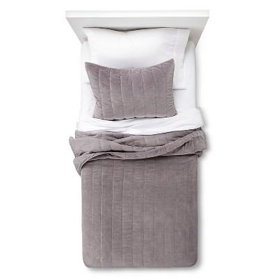 Channel Velvet Quilt Set - Gray (Full/Queen)
