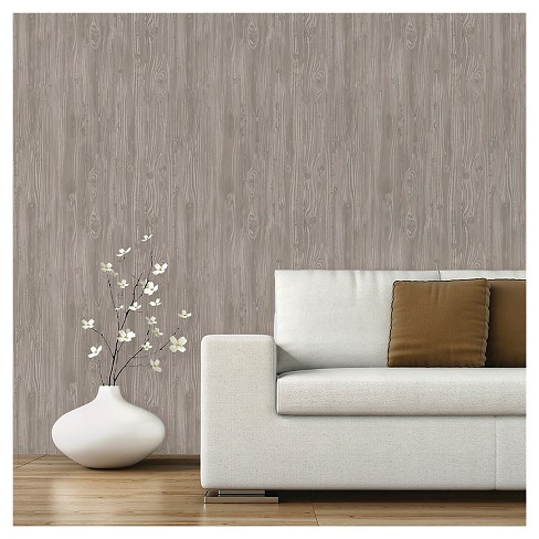 Devine Color Textured Driftwood Peel Stick Wallpaper