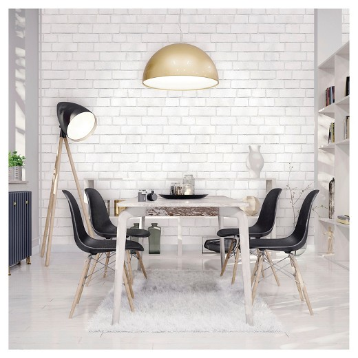 devine color textured brick peel & stick wallpaper - white : target
