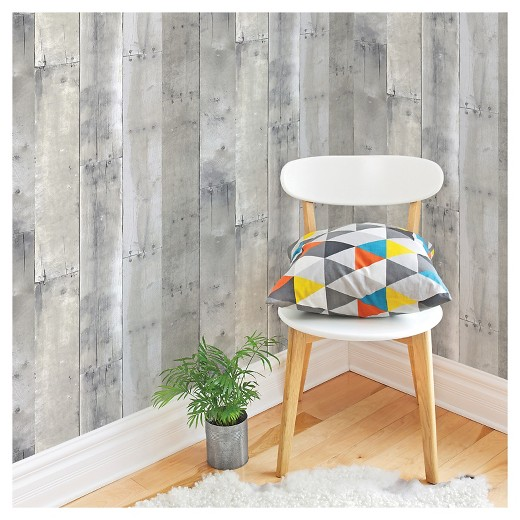 Stick On Wall Paper devine color reclaimed wood peel & stick wallpaper - mirage : target