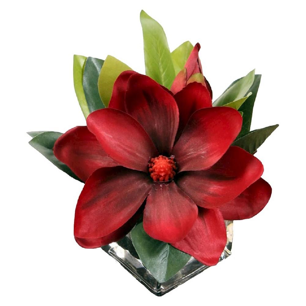 Artificial Arrangement Single Magnolia in Glass, Red