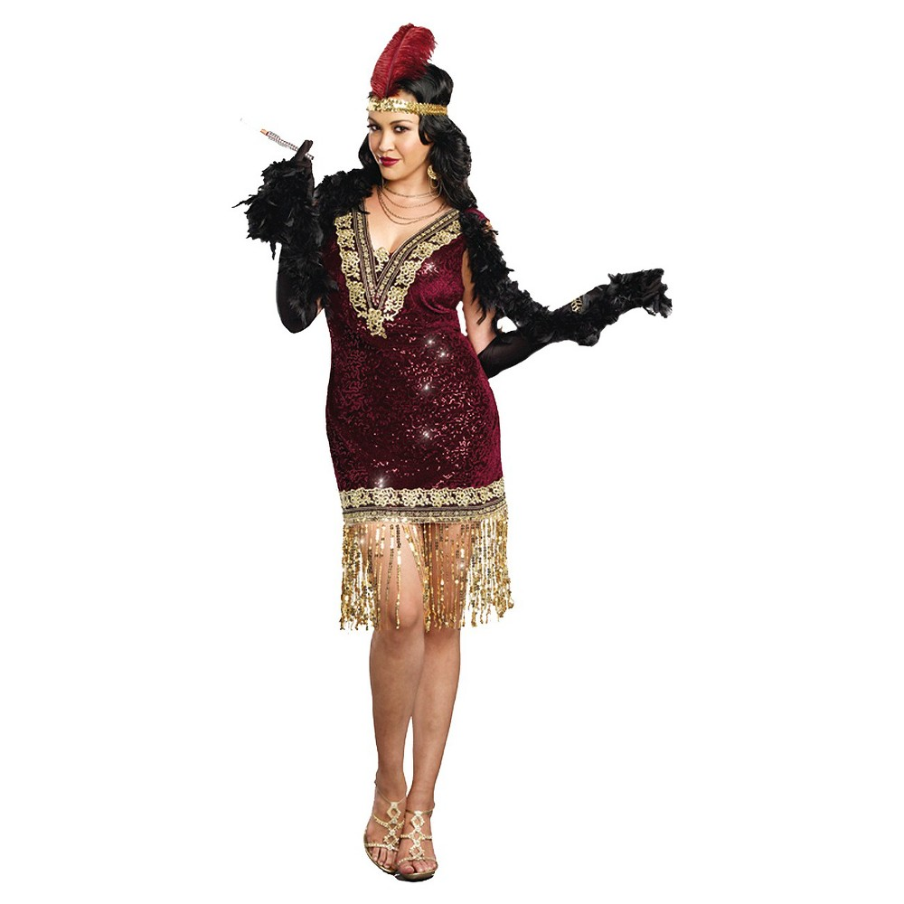 Roaring 20s Costumes- Cheap Flapper Dresses, Gangster Costumes Womens Plus Size Sophisticated Lady Costume Red 2X $41.24 AT vintagedancer.com