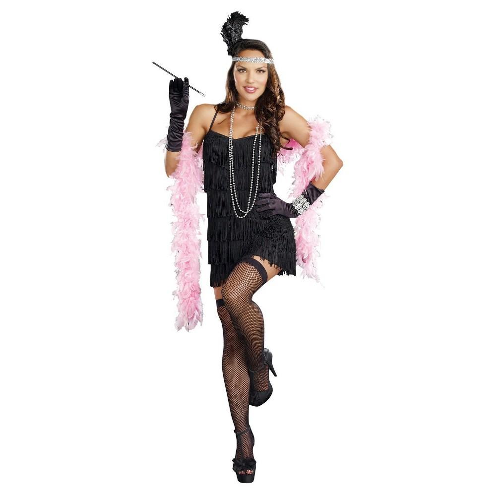 Flapper Dress Womens Costume Black - Large
